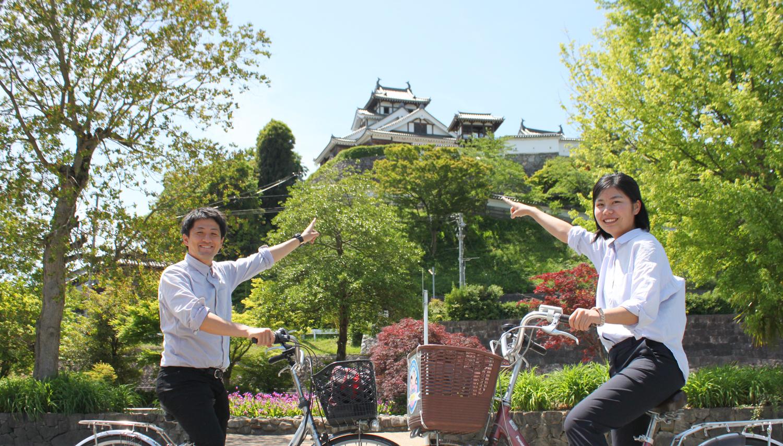 Rent-a-bicycle course following achievement of Mitsuhide Akechi, Tamba subjugation loved in Fukuchiyama