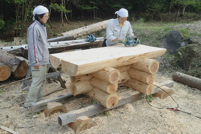 Chain saw beginner welcome! The making of garden table bench