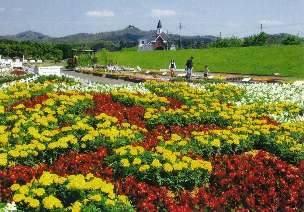 The Yura River flower garden